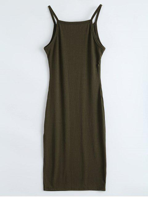 womens Ribbed Slit Bodycon Tank Dress - ARMY GREEN XL Mobile
