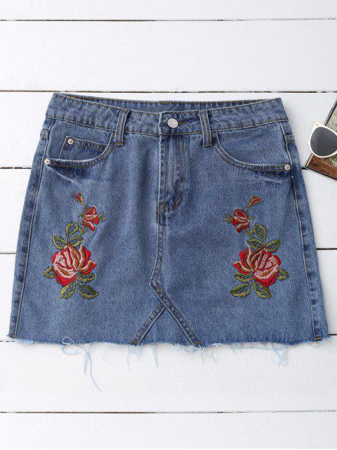 Falda bordada rosa del dril de algodón - Azul Denim L Mobile