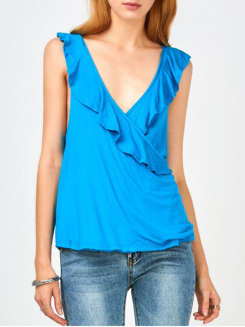 womens Ruffles Criss Cross Tank Top - BLUE 2XL Mobile