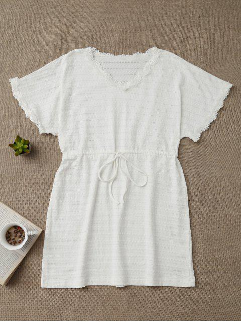 lady Drawstring V Neck Cutout Loungewear - WHITE M Mobile