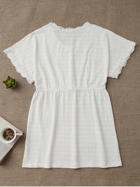 lady Drawstring V Neck Cutout Loungewear - WHITE M Mobile