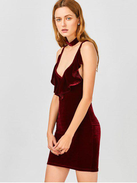 hot Ruffles Velvet Bodycon Dress - WINE RED XL Mobile