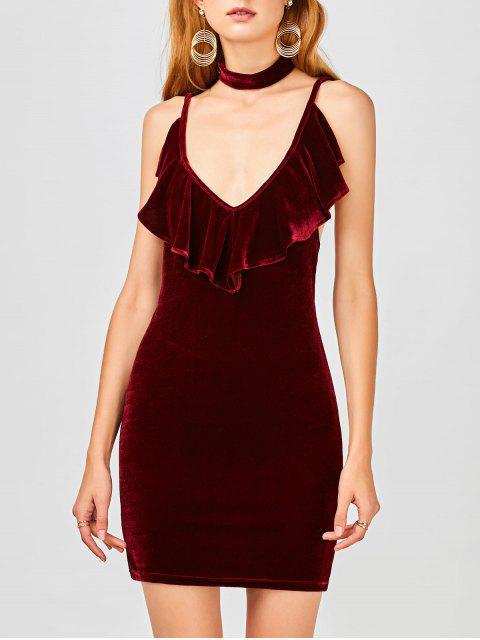 shop Ruffles Velvet Bodycon Dress - WINE RED S Mobile