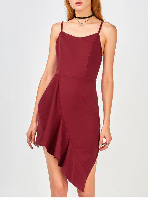 shops Ruffles Asymmetrical Bodycon Dress - WINE RED 2XL Mobile