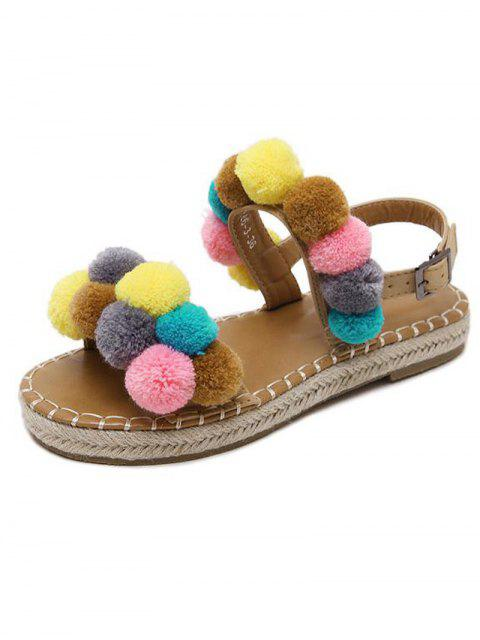 affordable Flat Heel Stitching Pompon Sandals - LIGHT BROWN 39 Mobile