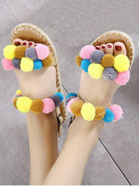 womens Flat Heel Stitching Pompon Sandals - LIGHT BROWN 38 Mobile