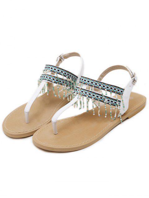 best Fringe Geometric Pattern Beading Sandals - WHITE 37 Mobile