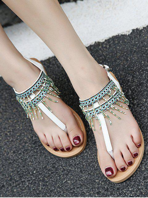 online Fringe Geometric Pattern Beading Sandals - WHITE 38 Mobile