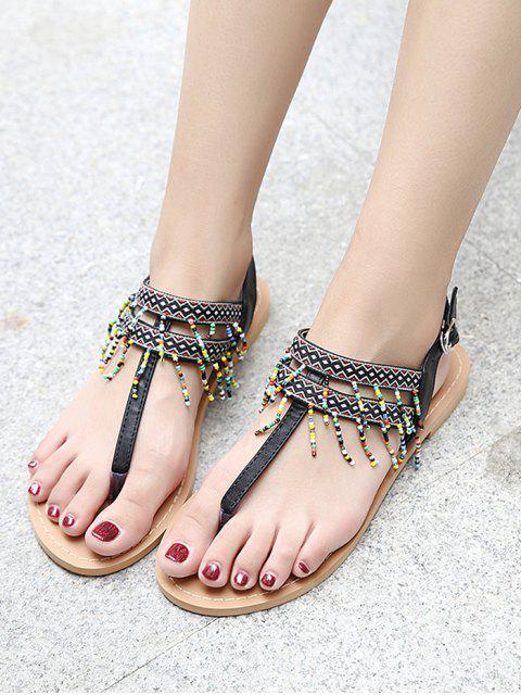 hot Fringe Geometric Pattern Beading Sandals - BLACK 37 Mobile