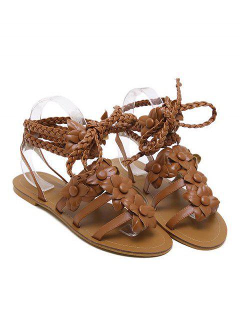 shop Flowers Tie Up Weaving Sandals - BROWN 37 Mobile