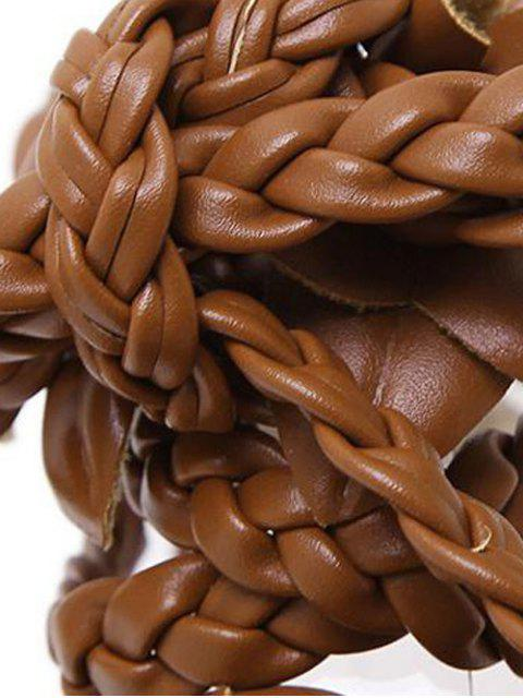 shops Flowers Tie Up Weaving Sandals - BROWN 38 Mobile