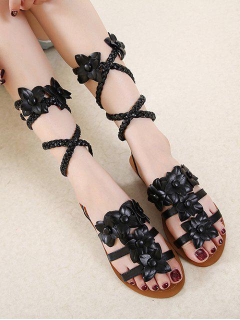 fashion Flowers Tie Up Weaving Sandals - BLACK 38 Mobile