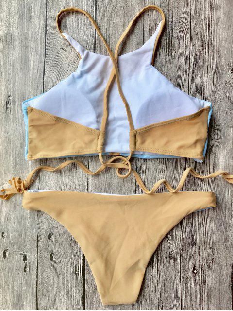 unique High Neck Colorblock Bikini Set - BLUE AND BROWN S Mobile