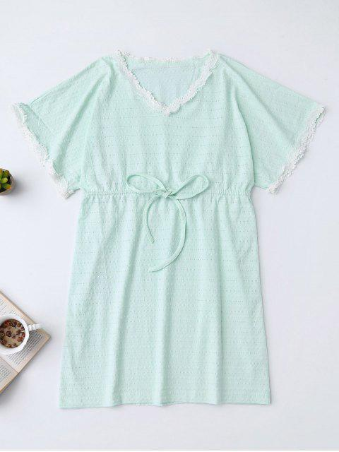 best Drawstring V Neck Cutout Loungewear - LIGHT GREEN S Mobile