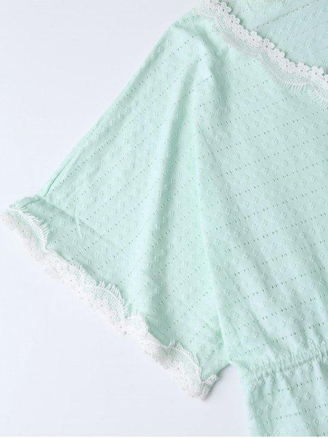 best Drawstring V Neck Cutout Loungewear - LIGHT GREEN S Mobile