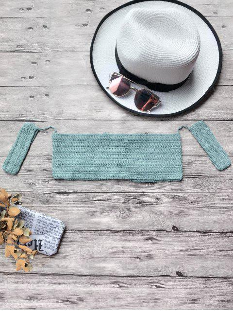 Haut de bikini court croché à épaules dénudées - Bleu Vert TAILLE MOYENNE Mobile