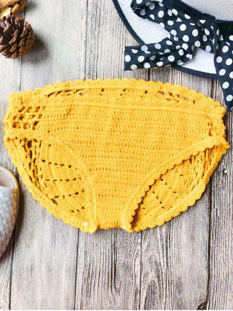 buy Crochet Low Waisted Bikini Bottoms - YELLOW ONE SIZE Mobile