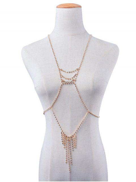 hot Rhinestone Layered Geometric Fringed Body Chain - GOLDEN  Mobile
