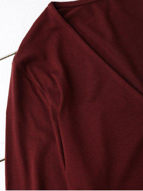 women Long Sleeve Crossover Layering Top - BURGUNDY S Mobile