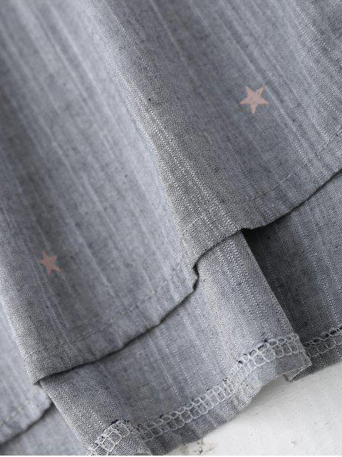 fancy Stars Print Oversized Pocket Shirt - GRAY S Mobile