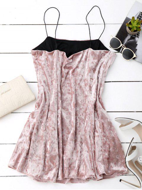 chic Velvet Mini Cami Skater Dress - PINK S Mobile