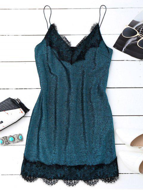 fancy Eyelash Lace Glitter Slip Dress - PEACOCK BLUE L Mobile