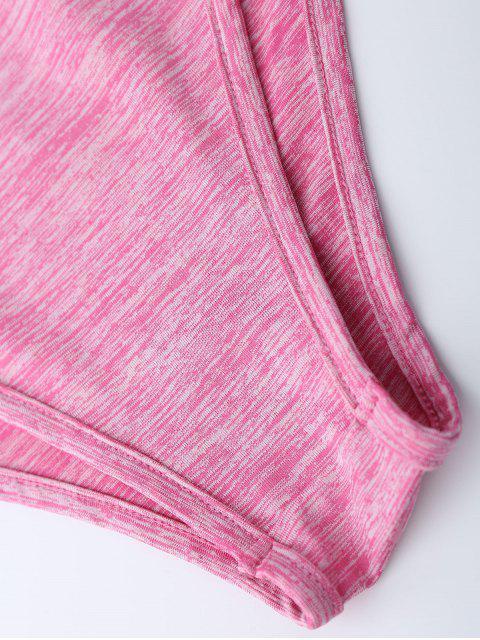 fashion Lace Up Plunge Neck Monokini - LIGHT PINK L Mobile