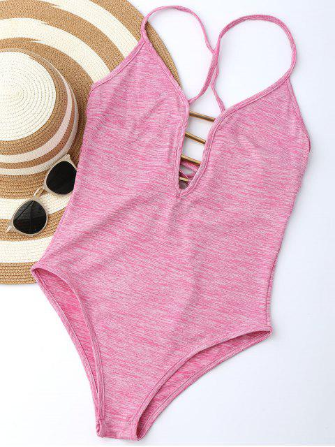 chic Lace Up Plunge Neck Monokini - LIGHT PINK M Mobile