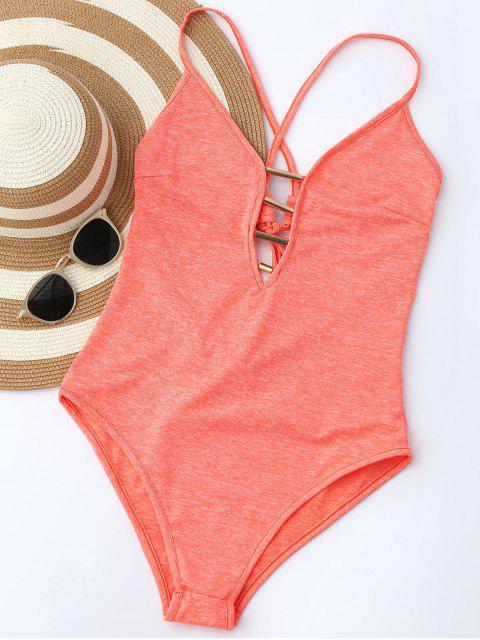 Maillot de bain monokini lacé haut col plongeant - Tangerine XL Mobile