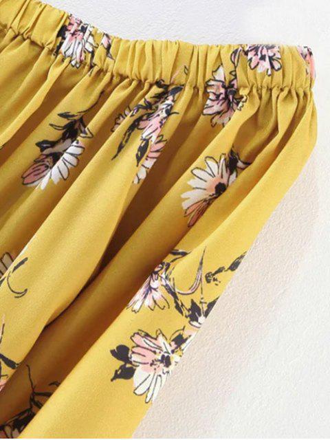 affordable Floral Off Shoulder Shift Dress - YELLOW L Mobile