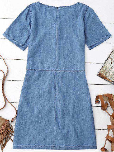 best Pockets Mini Chambray Dress - BLUE M Mobile