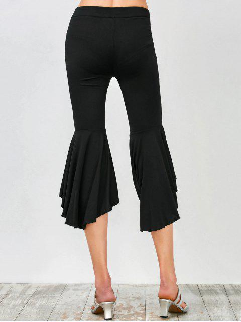 trendy Asymmetrical Ruffles Flare Pants - BLACK 2XL Mobile
