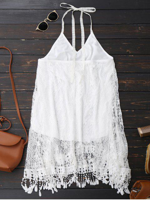fancy Halter Lace Fringed Backless Dress - WHITE S Mobile