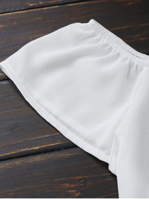 ladies Off Shoulder Chiffon Cropped Top - WHITE S Mobile