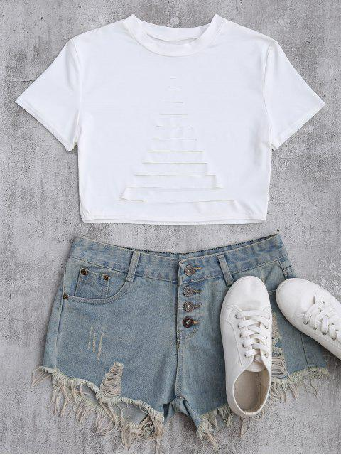 fashion Ripped Front Cropped T-Shirt - WHITE M Mobile