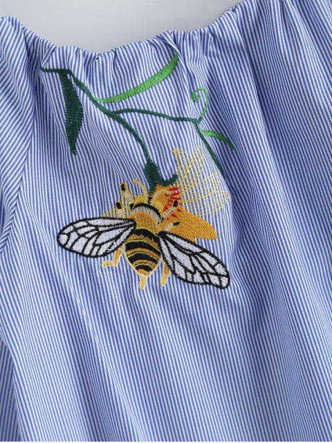 unique Off Shulder Bee Floral Striped Blouse - BLUE STRIPE S Mobile