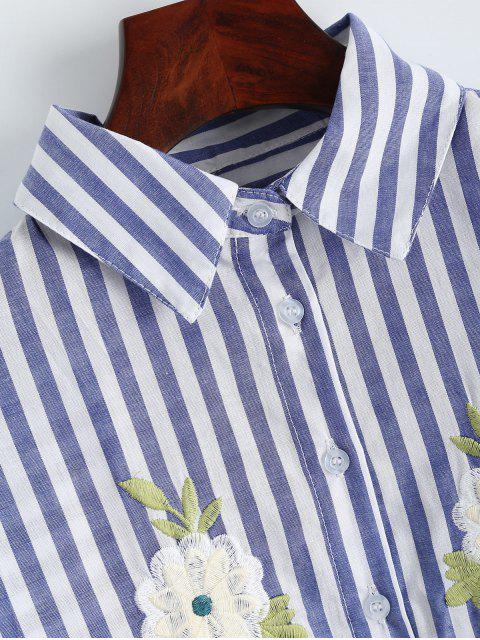 buy Oversized Floral Embroidered Striped Shirt - BLUE STRIPE S Mobile