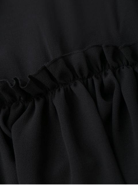 sale Ruffle Hem Smock Top - BLACK S Mobile