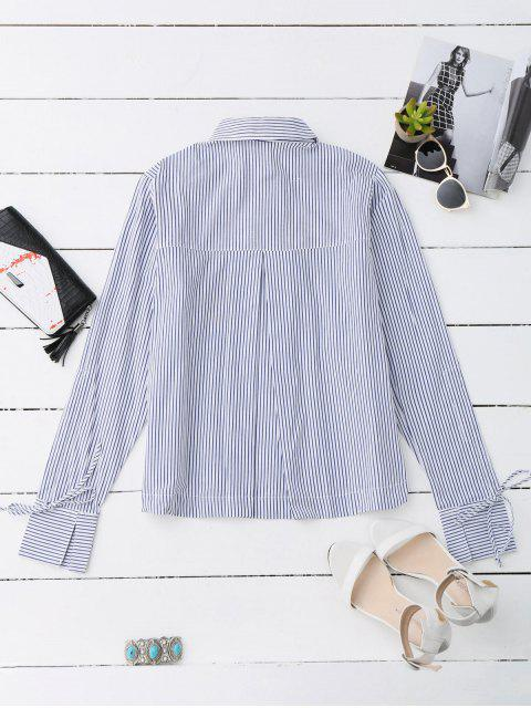 hot High Low Floral Embroidered Striped Shirt - STRIPE L Mobile