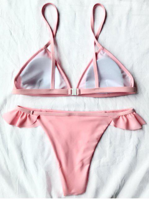 shop Cami Frilly Thong Bikini Set - PINK L Mobile