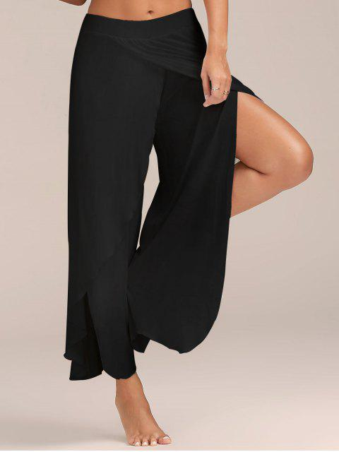 affordable High Slit Flowy Layered Palazzo Pants - BLACK M Mobile