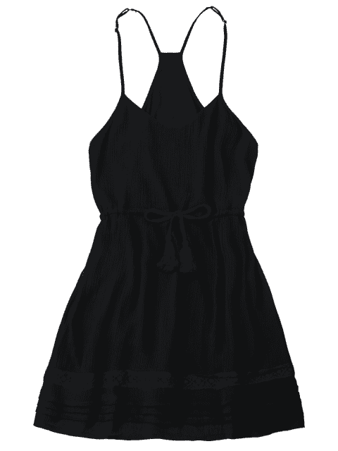 women Spaghetti Straps Drawstring Waist Summer Dress - BLACK XL Mobile
