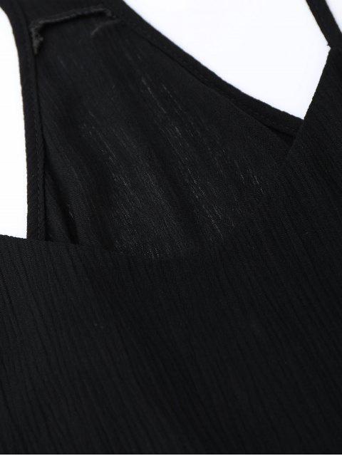 Robe d'été à bretelles spaghetti avec taille à lacet - Noir S Mobile