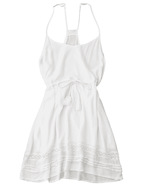 sale Spaghetti Straps Drawstring Waist Summer Dress - WHITE S Mobile