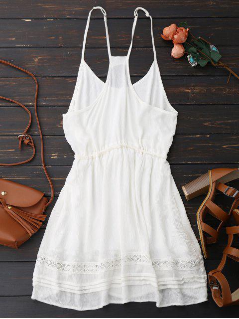 womens Spaghetti Straps Drawstring Waist Summer Dress - WHITE XL Mobile