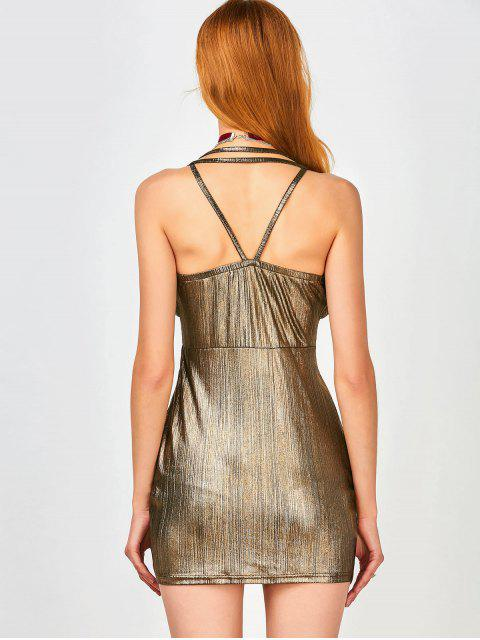 online Ruffles Strappy Club Dress - GOLDEN S Mobile