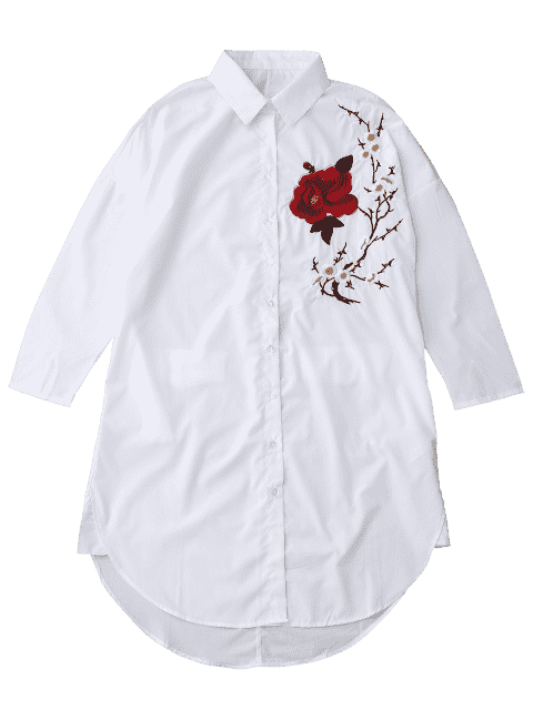 sale Floral Embroidered Tunic Shirt - WHITE M Mobile