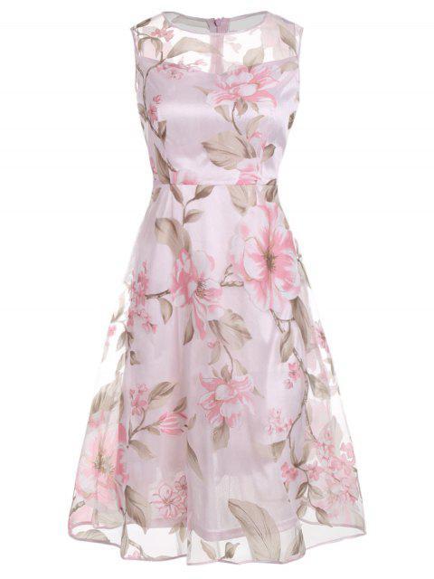 Ärmelloses  bedrucktes Midi-Kleid - Pink L Mobile