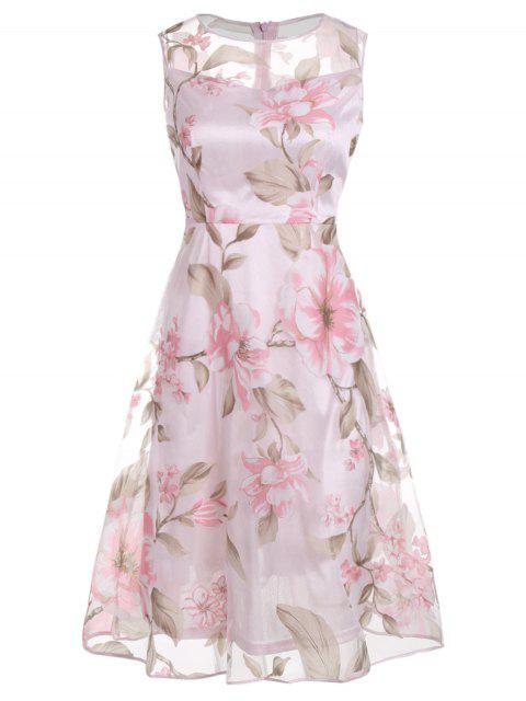 Robe Mi-longue à Imprimé Floral Sans Manches - ROSE PÂLE XL Mobile