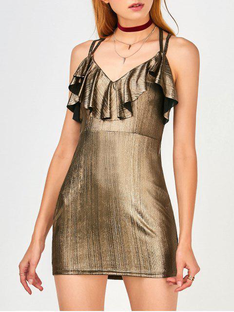 ladies Ruffles Strappy Club Dress - GOLDEN XL Mobile